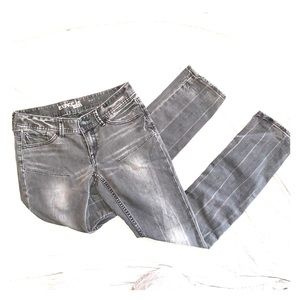 Express Black/Gray Skinny Jeans